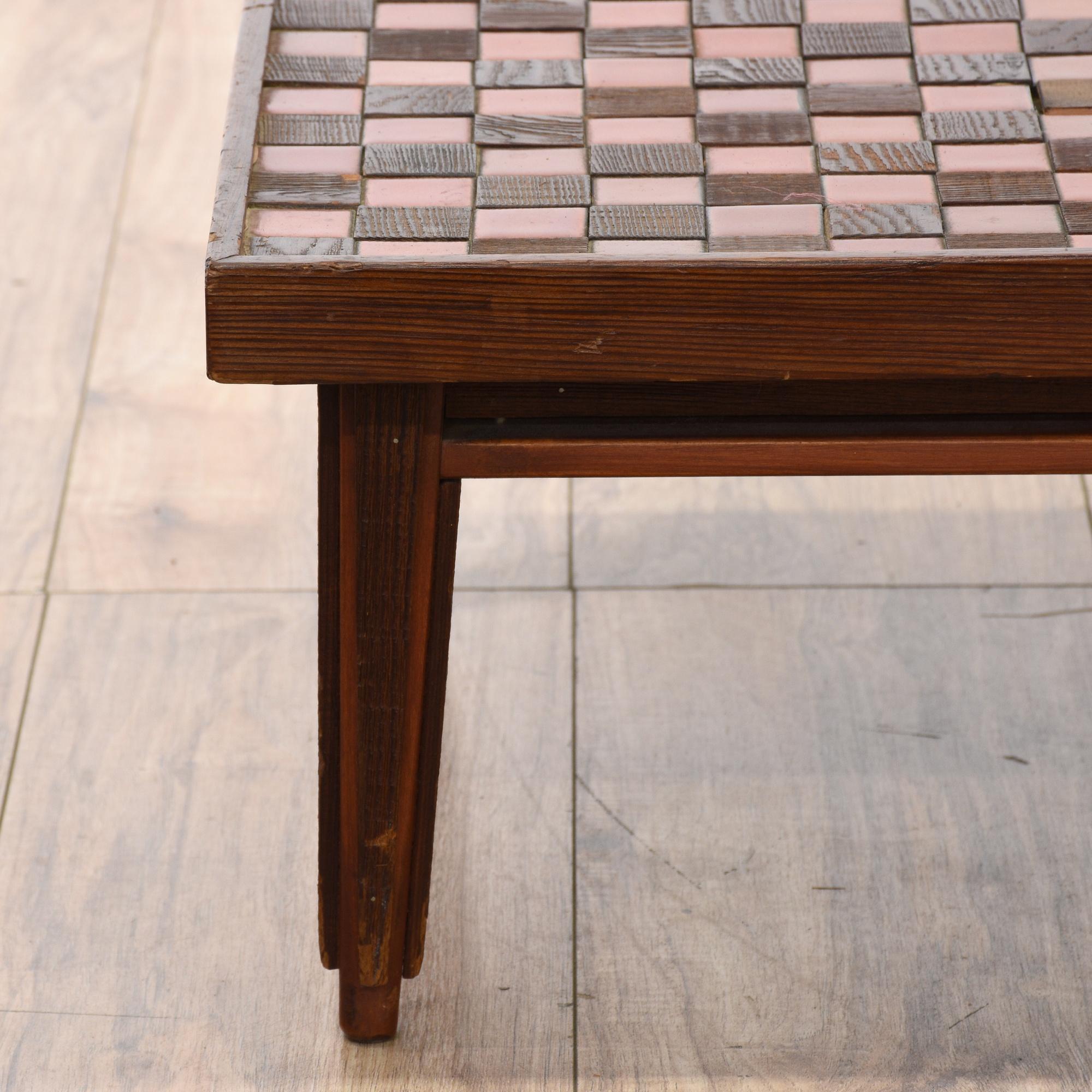 Tile & Wood Mosaic Top Coffee Table
