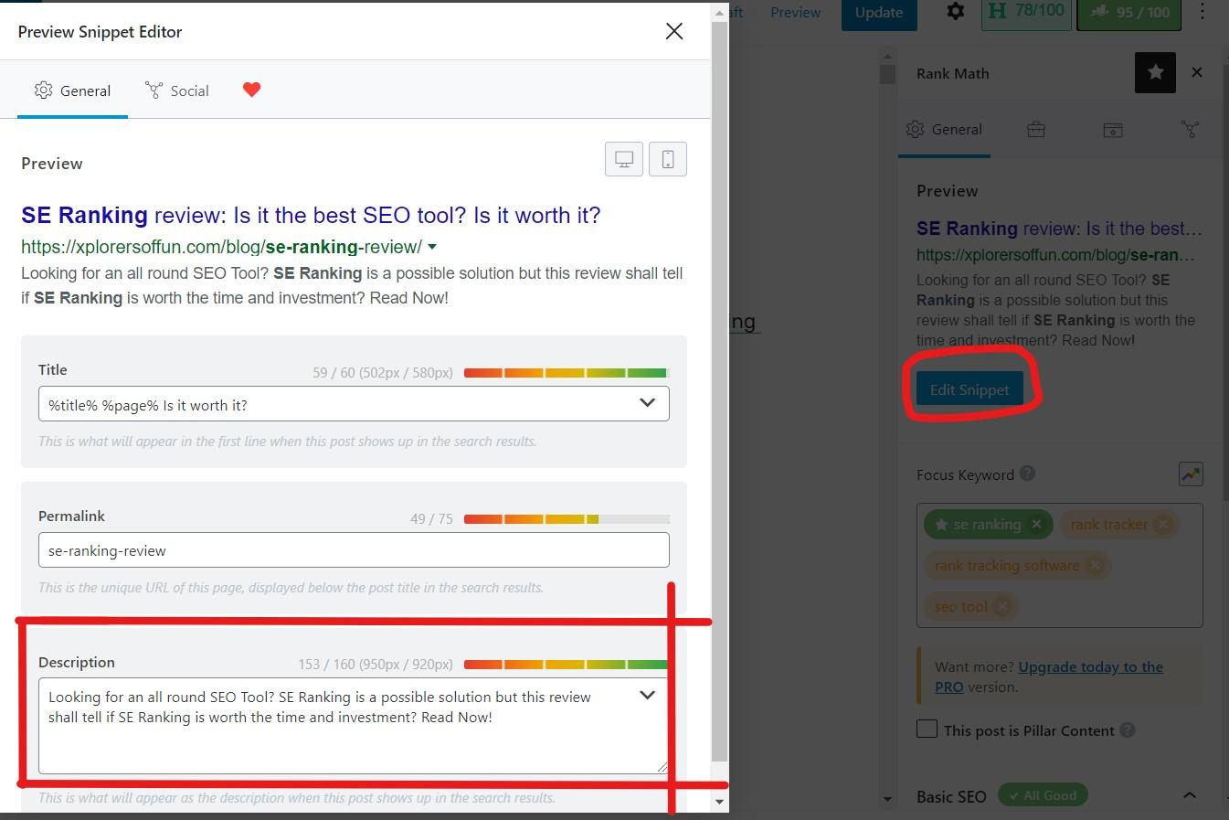 How to write meta description in Rank Math SEO in WordPress