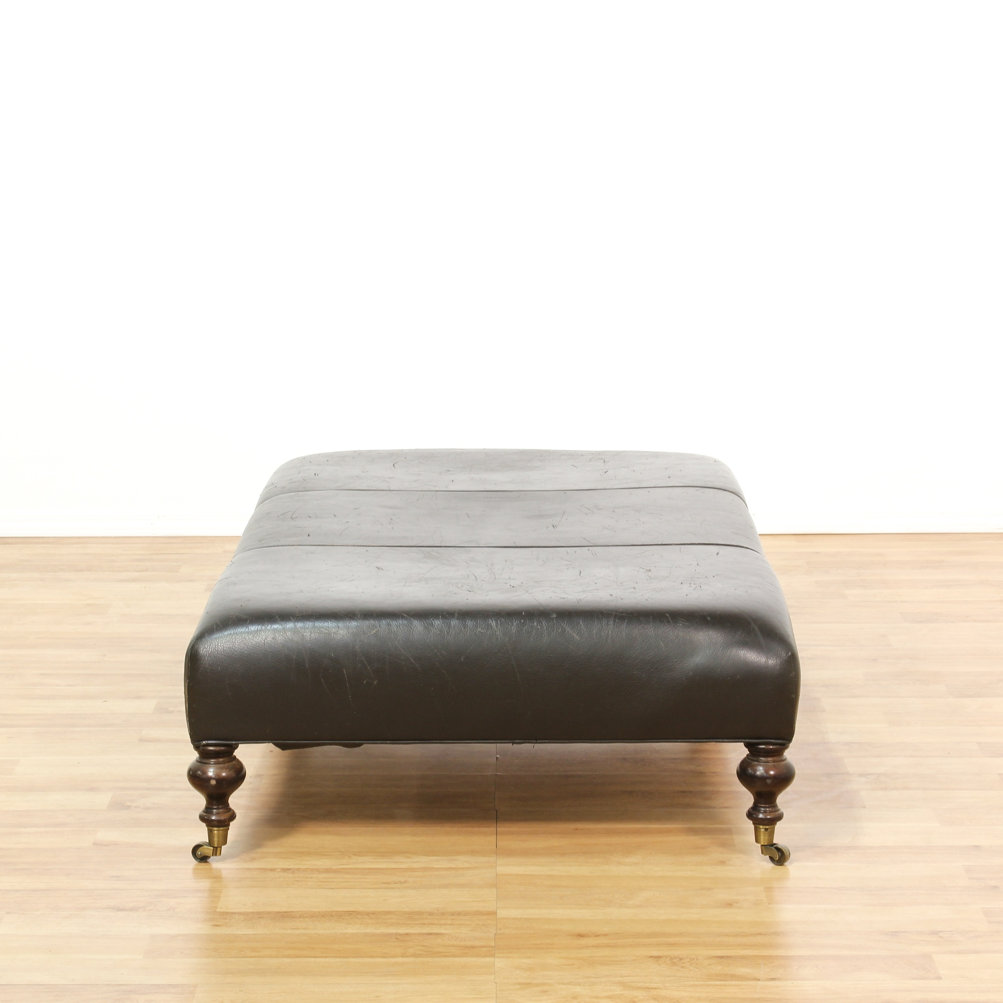 Large Brown Leather Ottoman Bench Loveseat Vintage