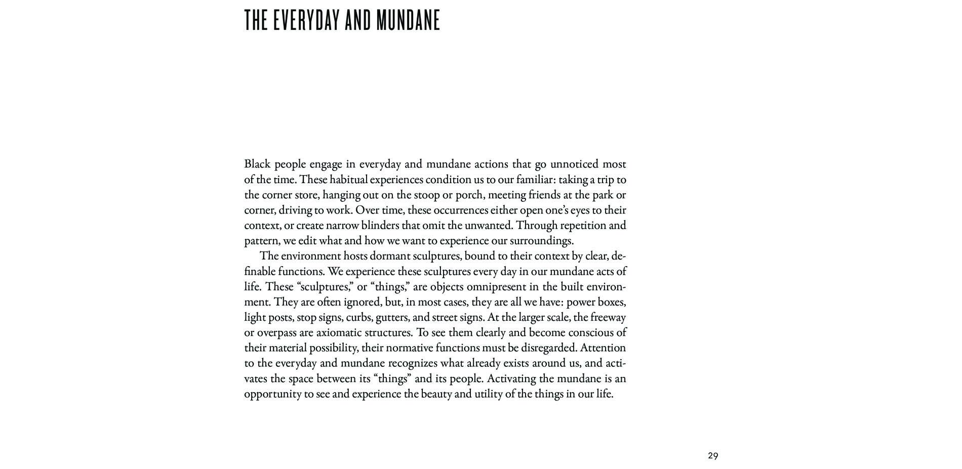 Black Landscapes Matter, The Everyday and Mundane (pg. 29)