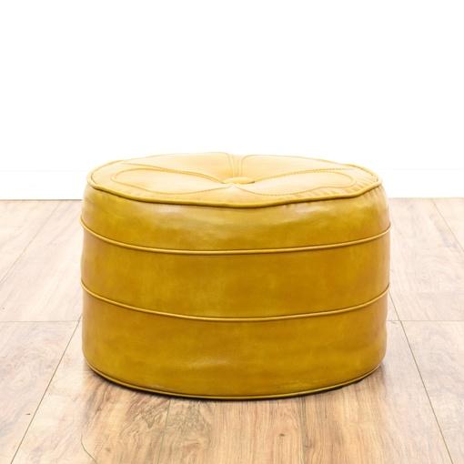 Mustard yellow vinyl upholstered ottoman hassock for Small storage hassocks