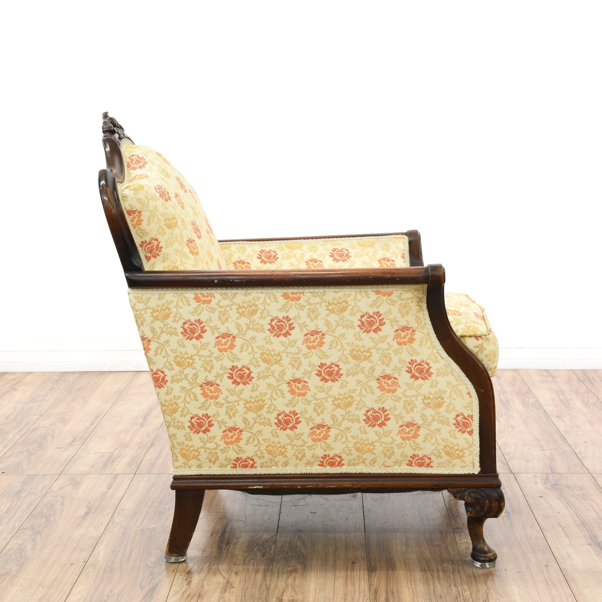 Carved victorian floral upholstered armchair loveseat for Victorian furniture los angeles
