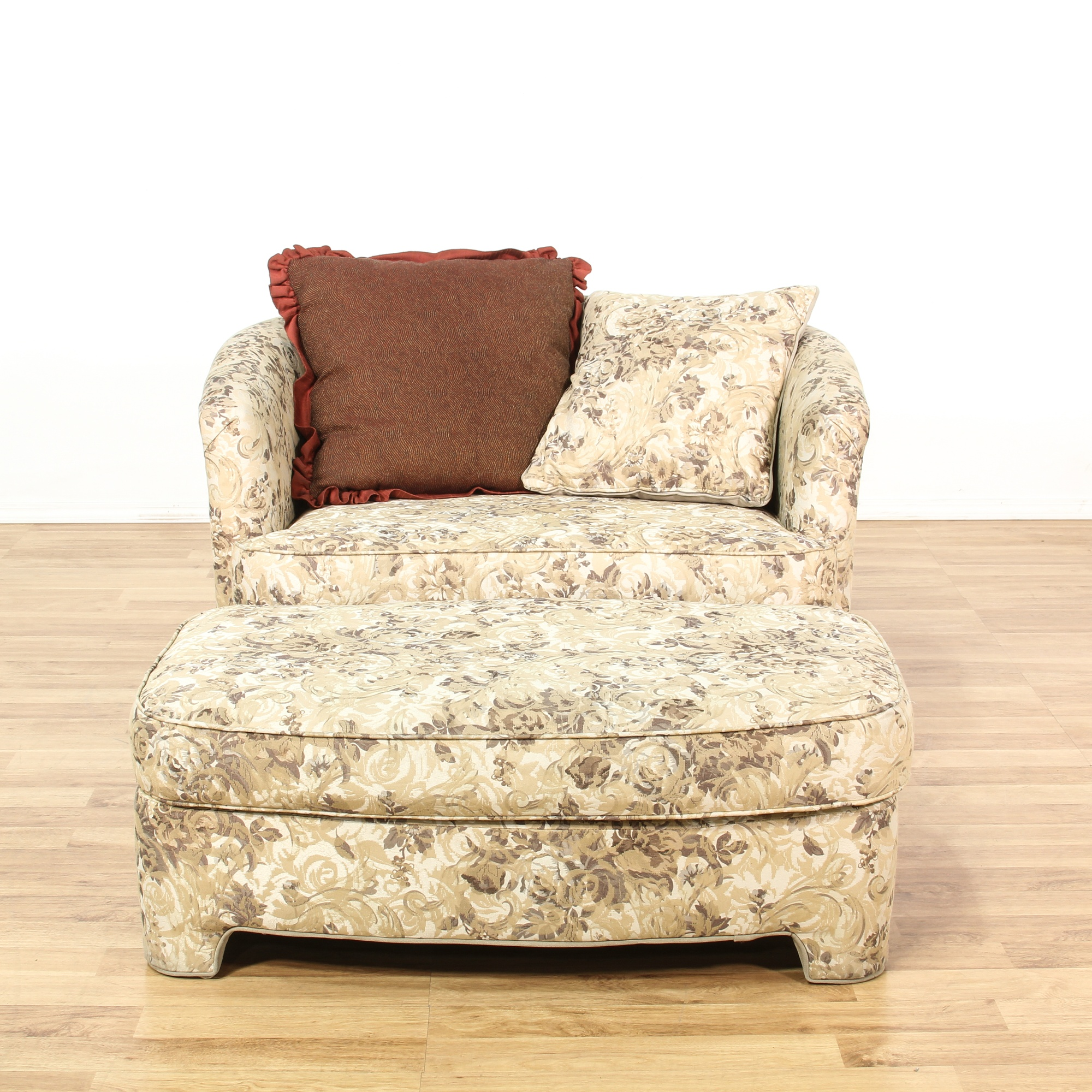Floral Upholstered Round Back Chair Amp Ottoman Loveseat