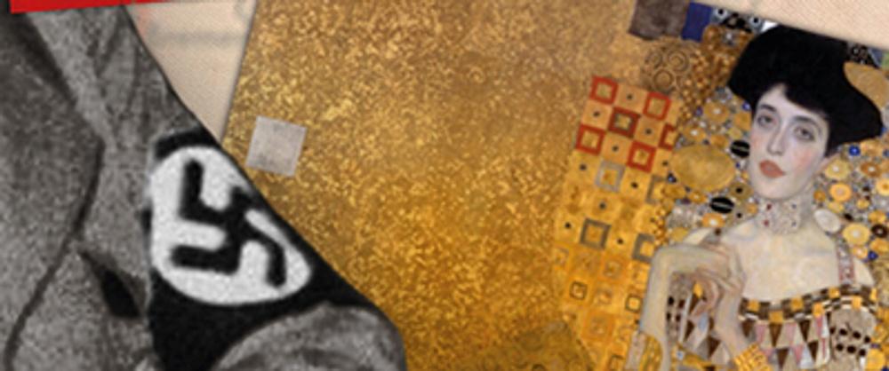 Utställningsaffischen visar bilden av en persons korslagda armar med en armbindel med ett tryckt hakkors, och ett berömt konstverk av Gustav Klimt till höger.