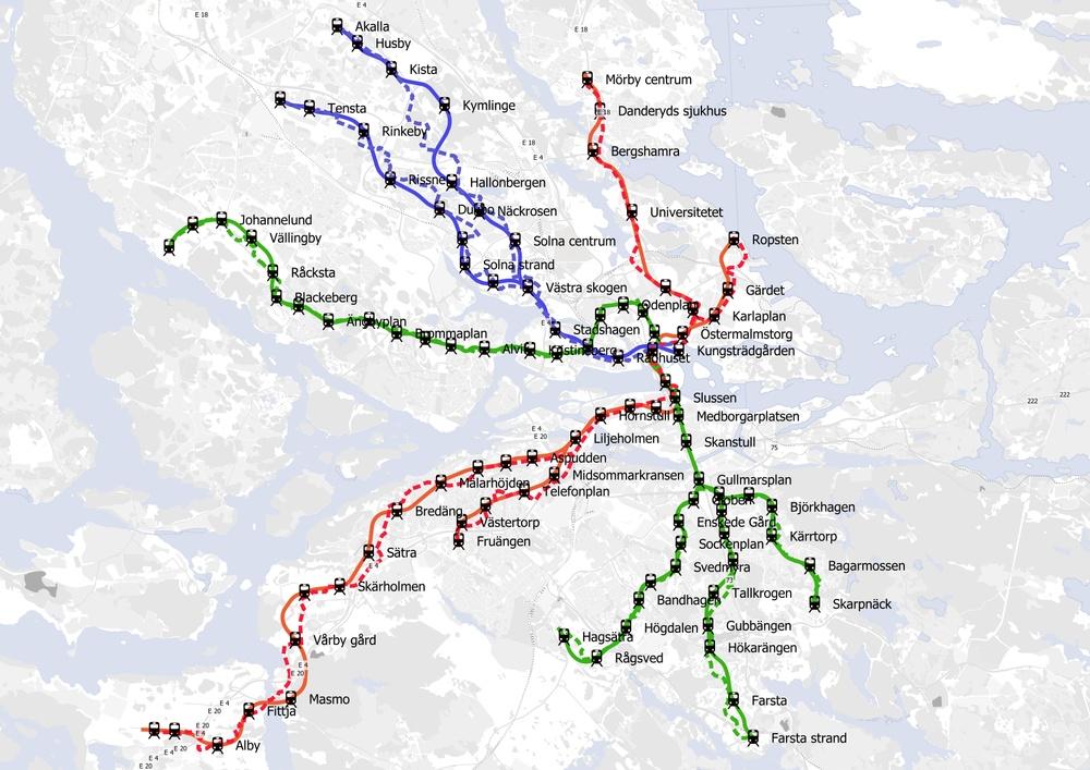 Digital karta som visar hur du kan cykla mellan stationerna i Stockholms tunnelbana. Hela tunnelbanenätet.
