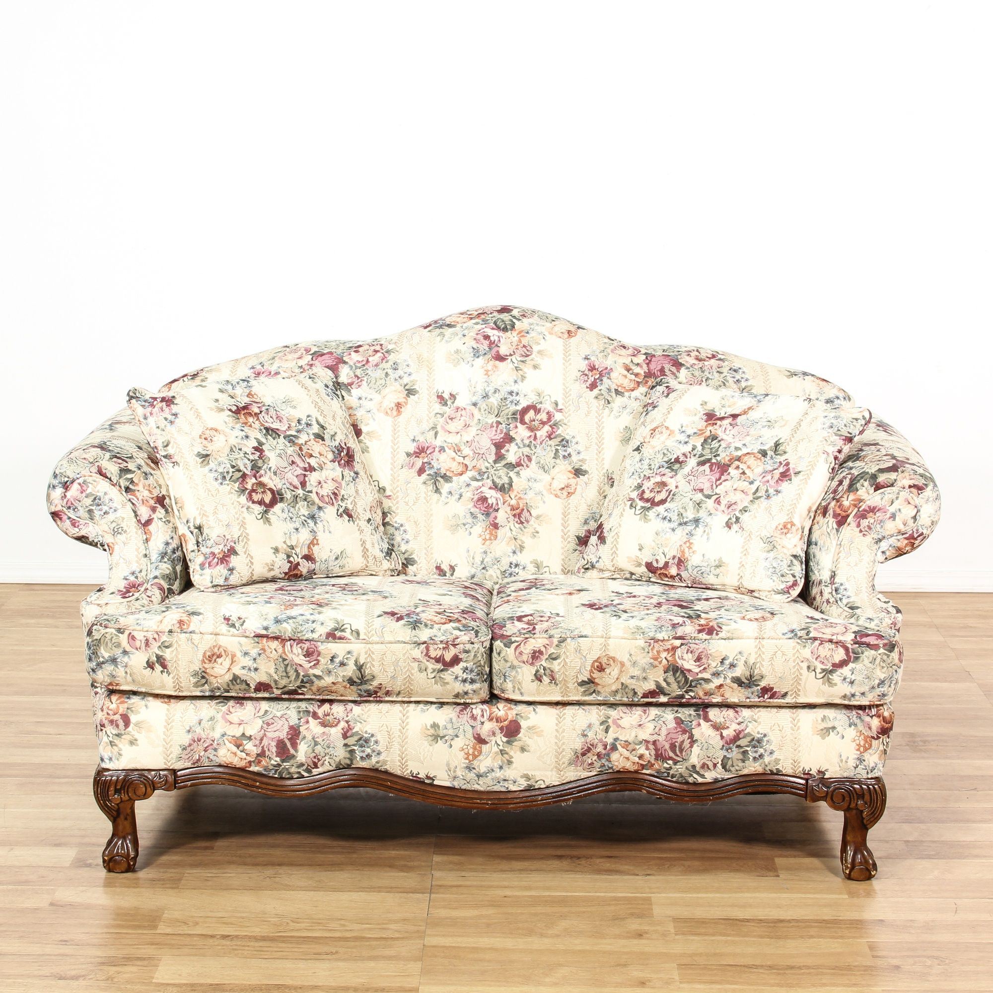 Curved Back White Floral Loveseat Sofa