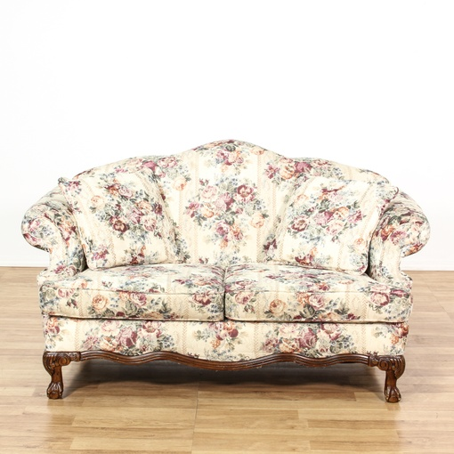 Curved Back White Floral Loveseat Sofa Loveseat Vintage Furniture San Diego Los Angeles