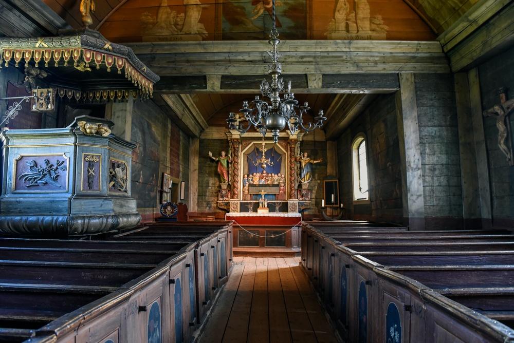 Bosebo kyrka, interiör. Foto: Viveca Ohlsson, Kulturen