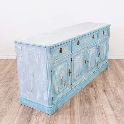 carved blue white shabby chic buffet sideboard loveseat vintage furniture san diego los. Black Bedroom Furniture Sets. Home Design Ideas