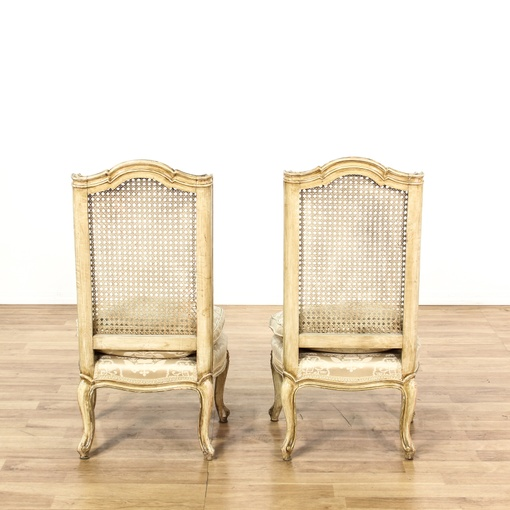 Pair Of Cream French Provincial Cane Back Chairs