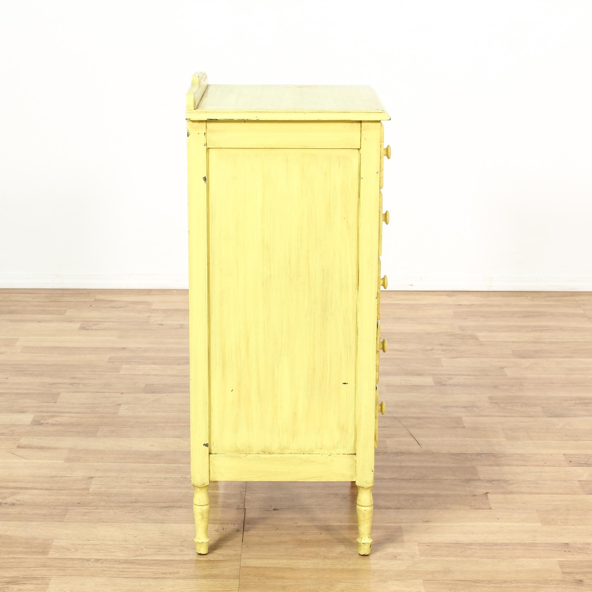 Yellow shabby chic 5 drawer dresser loveseat vintage