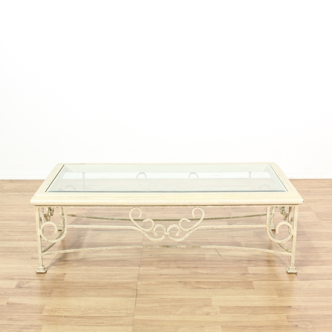 Off White Glass Top Iron Coffee Table Loveseat Vintage Furniture San Diego Los Angeles