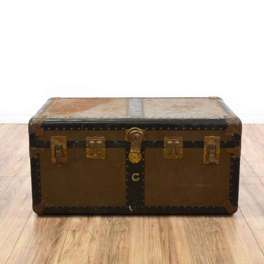 Distressed Brown Steamer Trunk