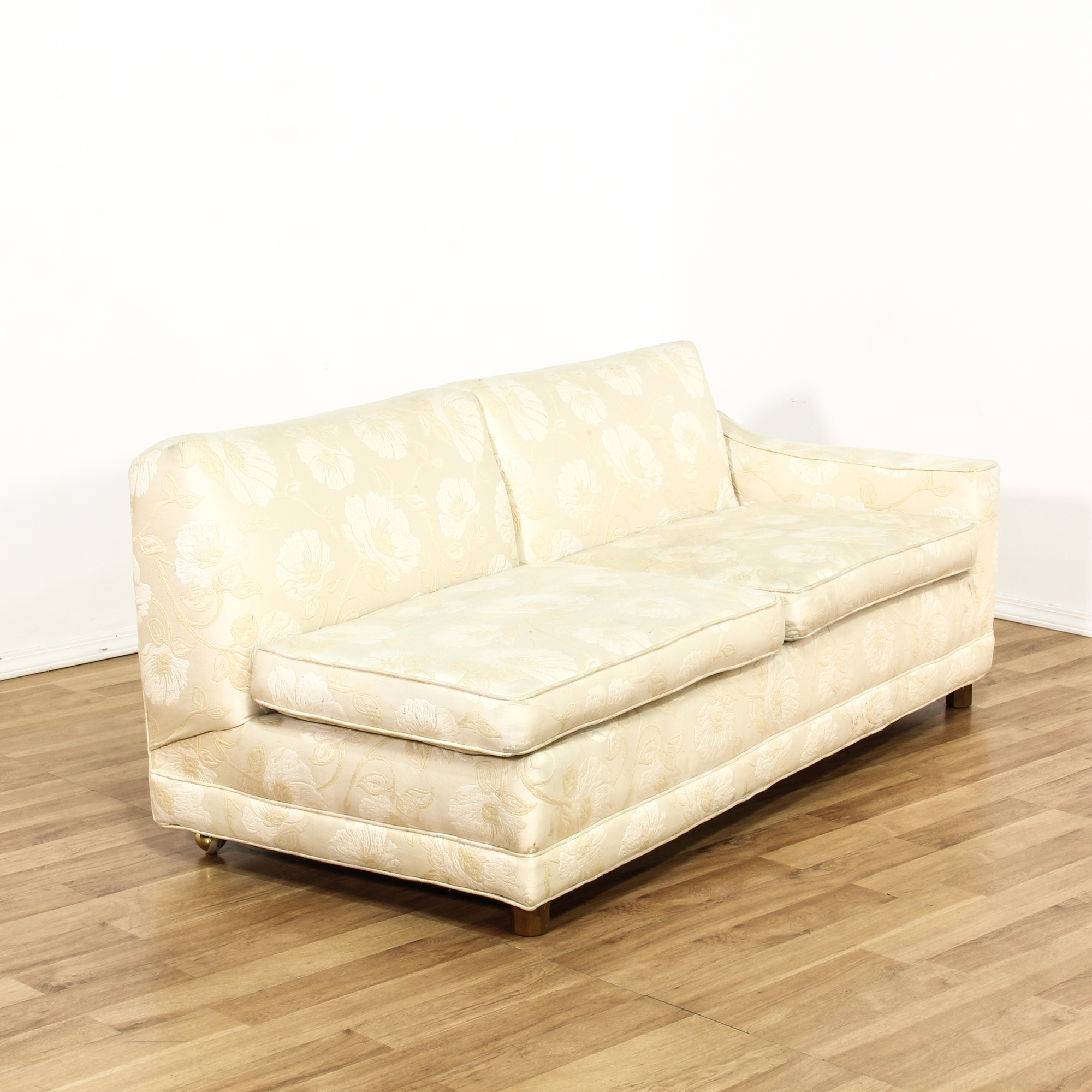 Cream Floral Curved 2 Piece Sectional Sofa Loveseat