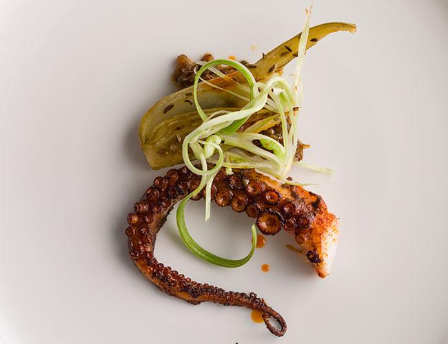 Mere: octopus a la plancha, fennel, nduja, caper and raisin condiment