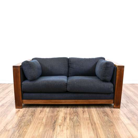 Solid Wood Blue Upholstered Loveseat Sofa