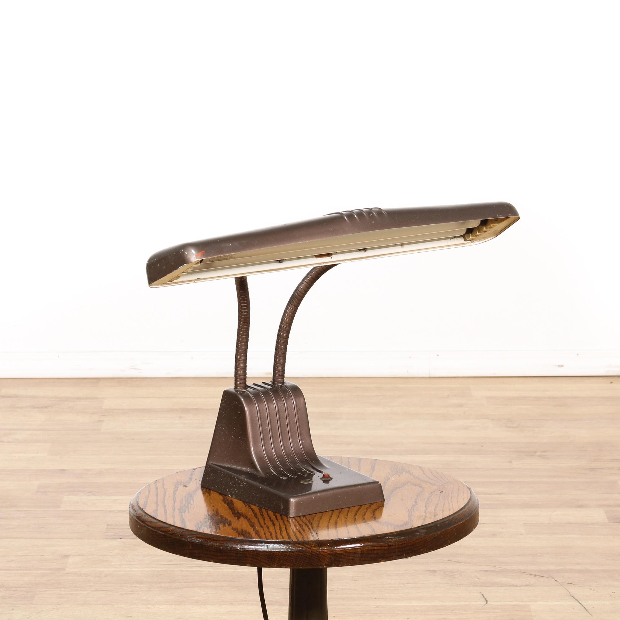 vintage industrial brown metal desk lamp loveseat vintage furniture. Black Bedroom Furniture Sets. Home Design Ideas