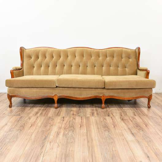 Tan French Provincial Wingback Sofa