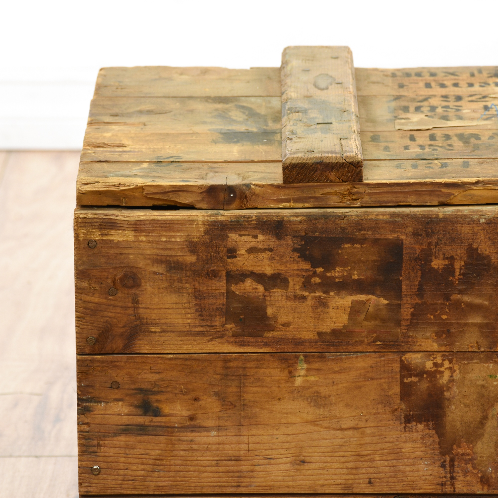 Distressed wood military foot locker loveseat vintage