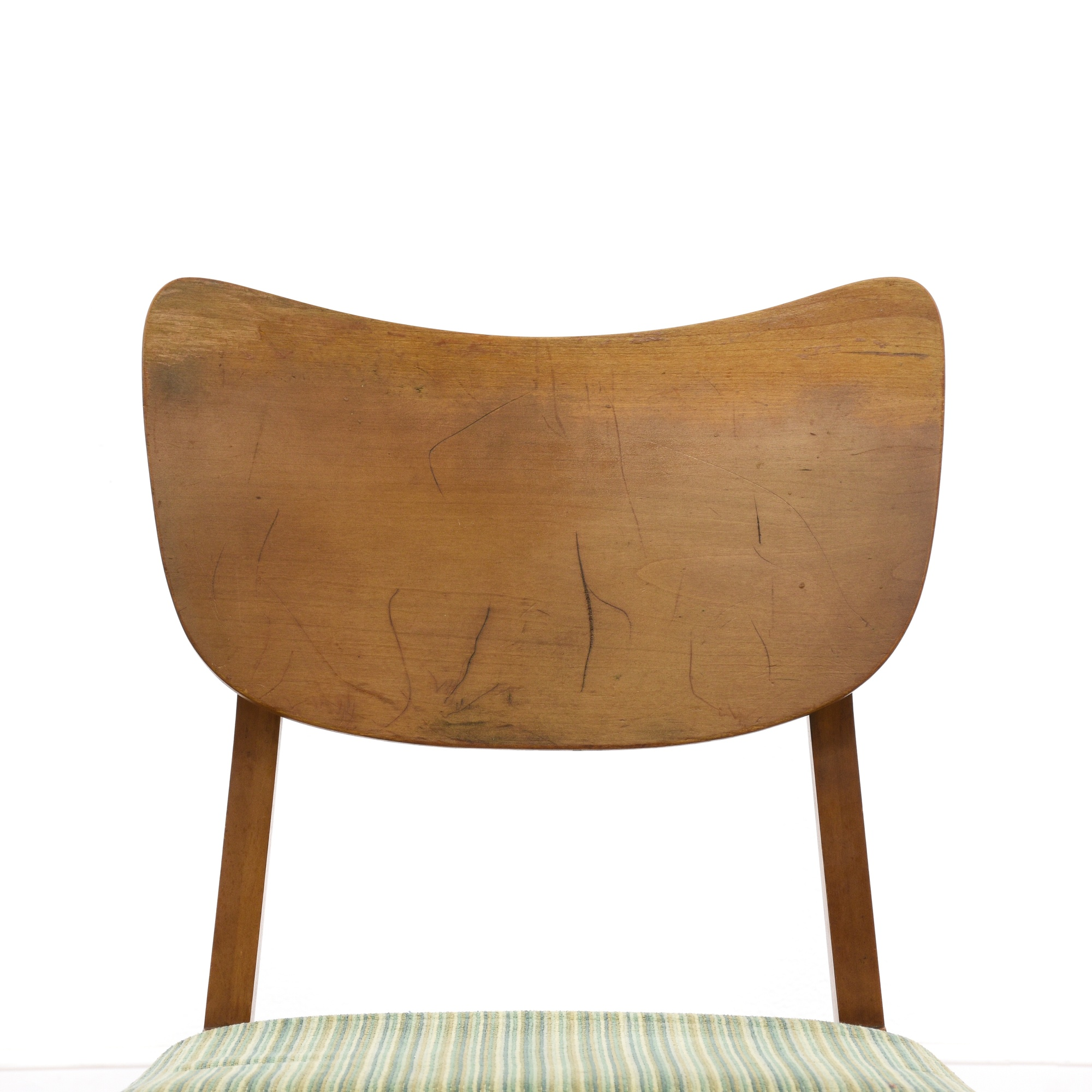 Set of 6 maple mid century modern dining chairs loveseat for Mid century modern dining chairs vintage