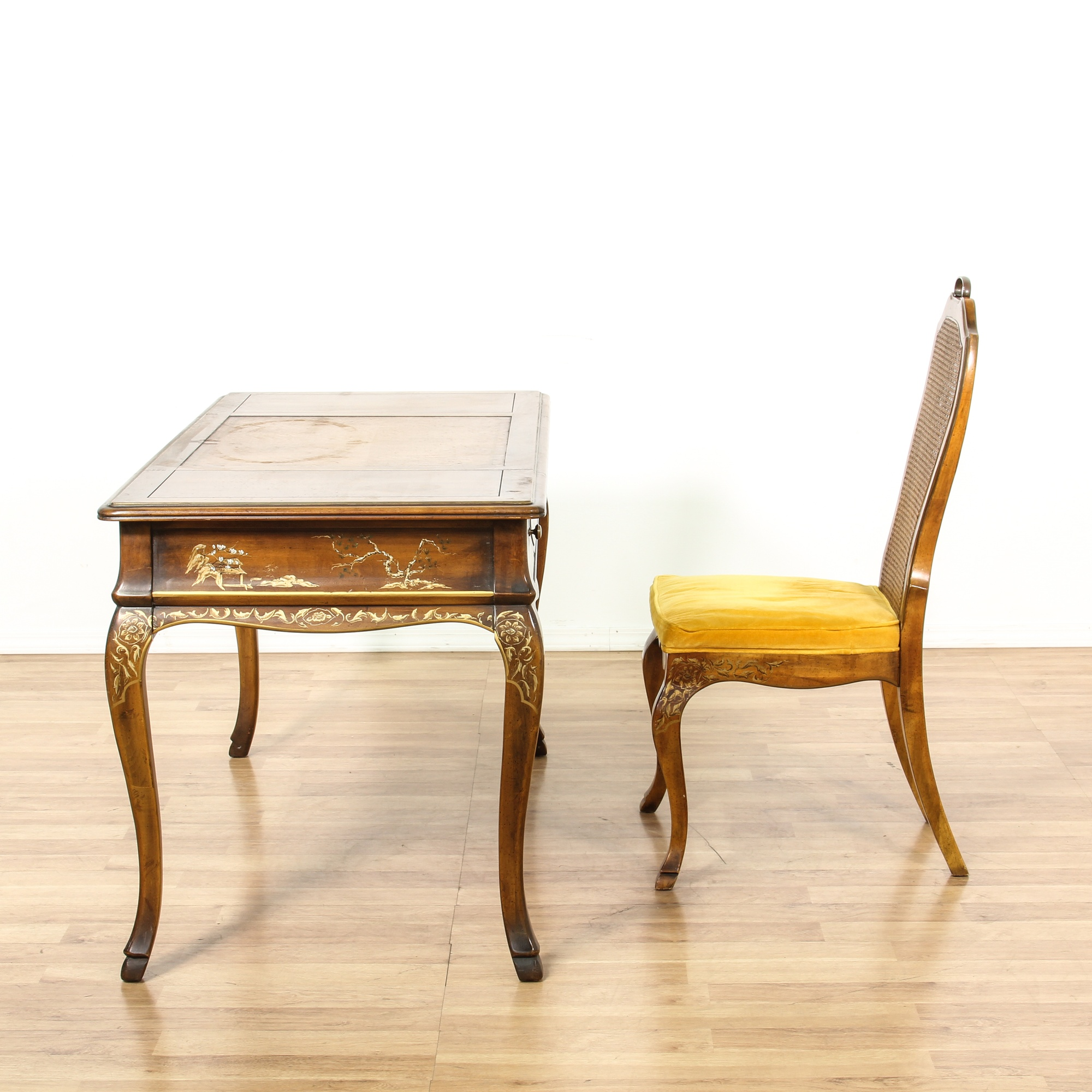 #BF8A0C Drexel French Painted Writing Desk & Chair Loveseat Vintage  with 2000x2000 px of Best Painted Writing Desk 20002000 image @ avoidforclosure.info