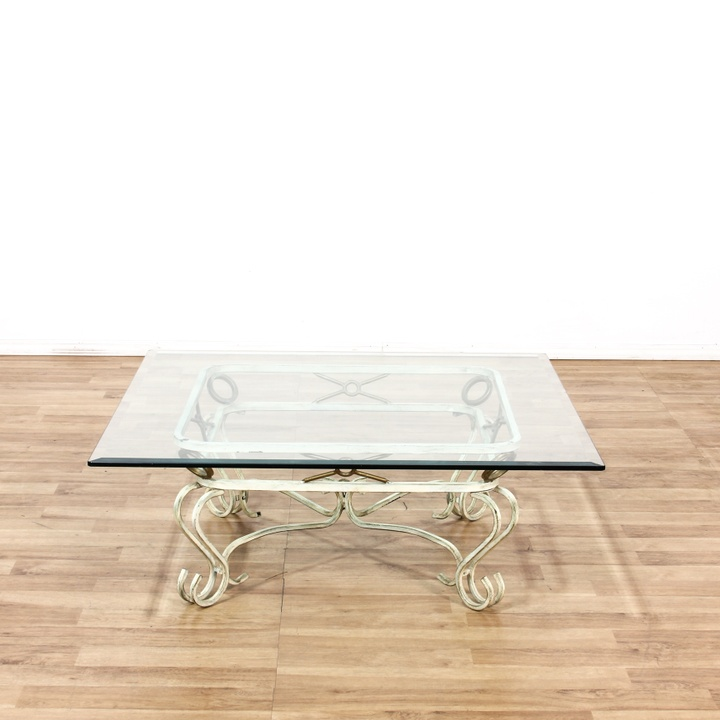 Metal Square Coffee Table With Glass Top And Triangular: Glass Top Metal Scroll Base Square Coffee Table
