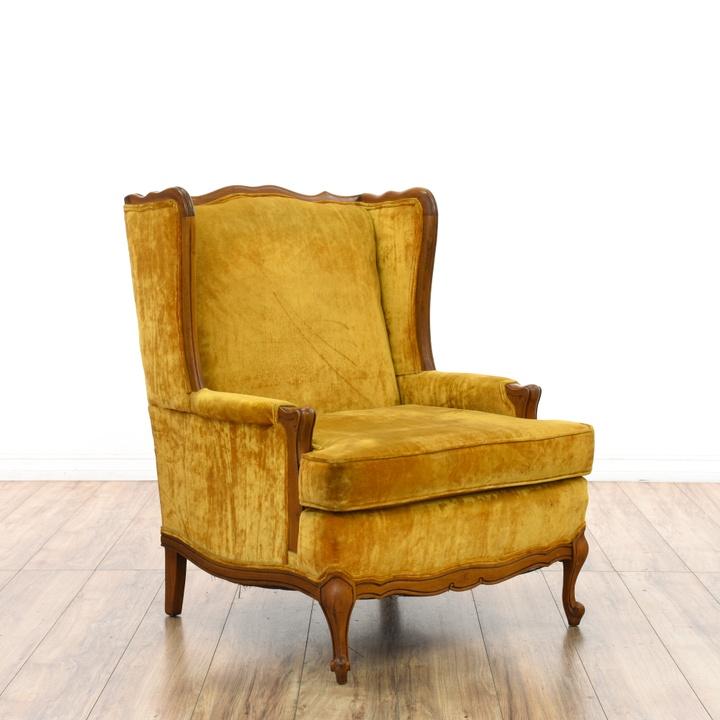Mustard Yellow Velvet Wingback Chair | Loveseat Vintage Furniture San Diego