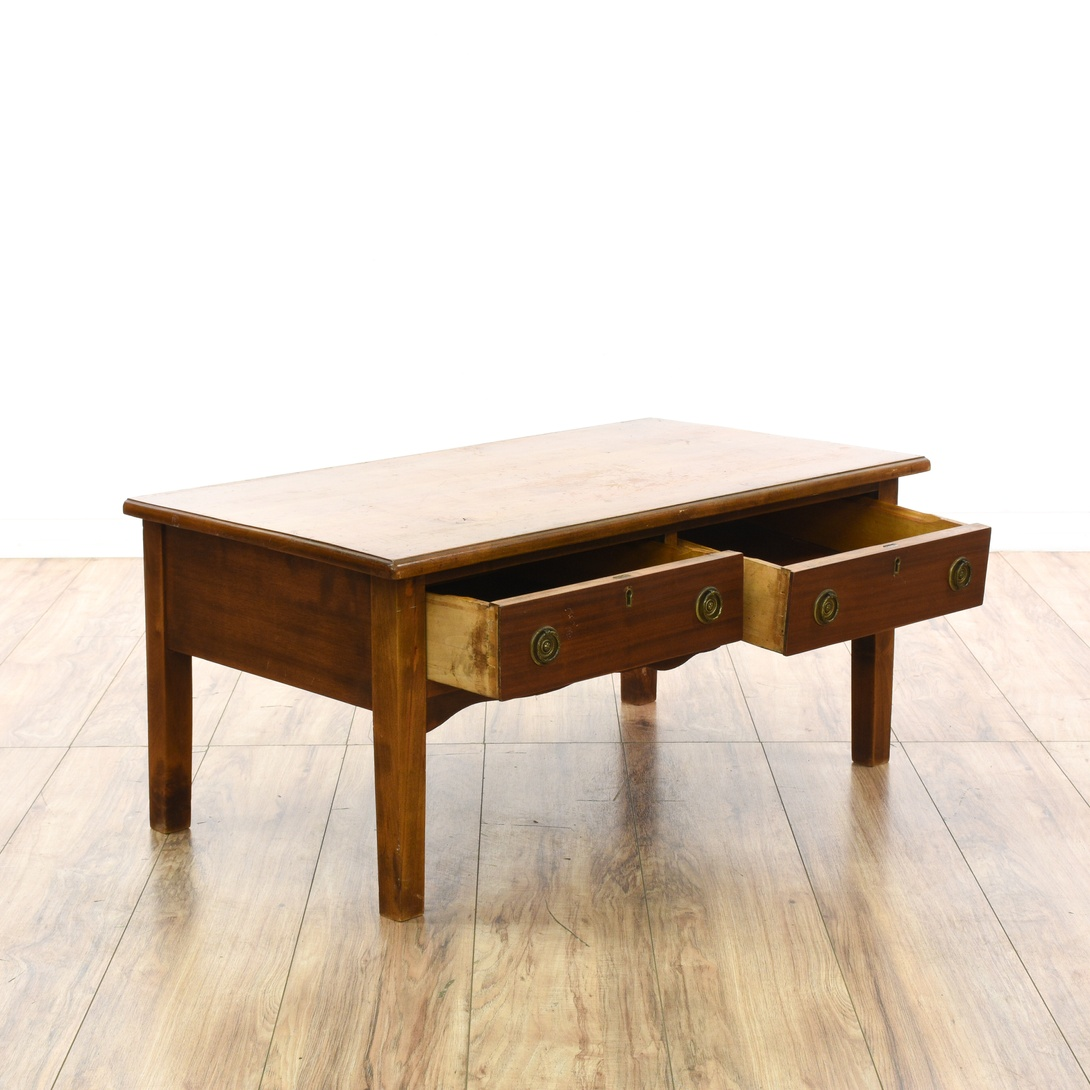 Wilson Antique White Coffee Table: Small Rustic Cherry 2 Drawer Coffee Table