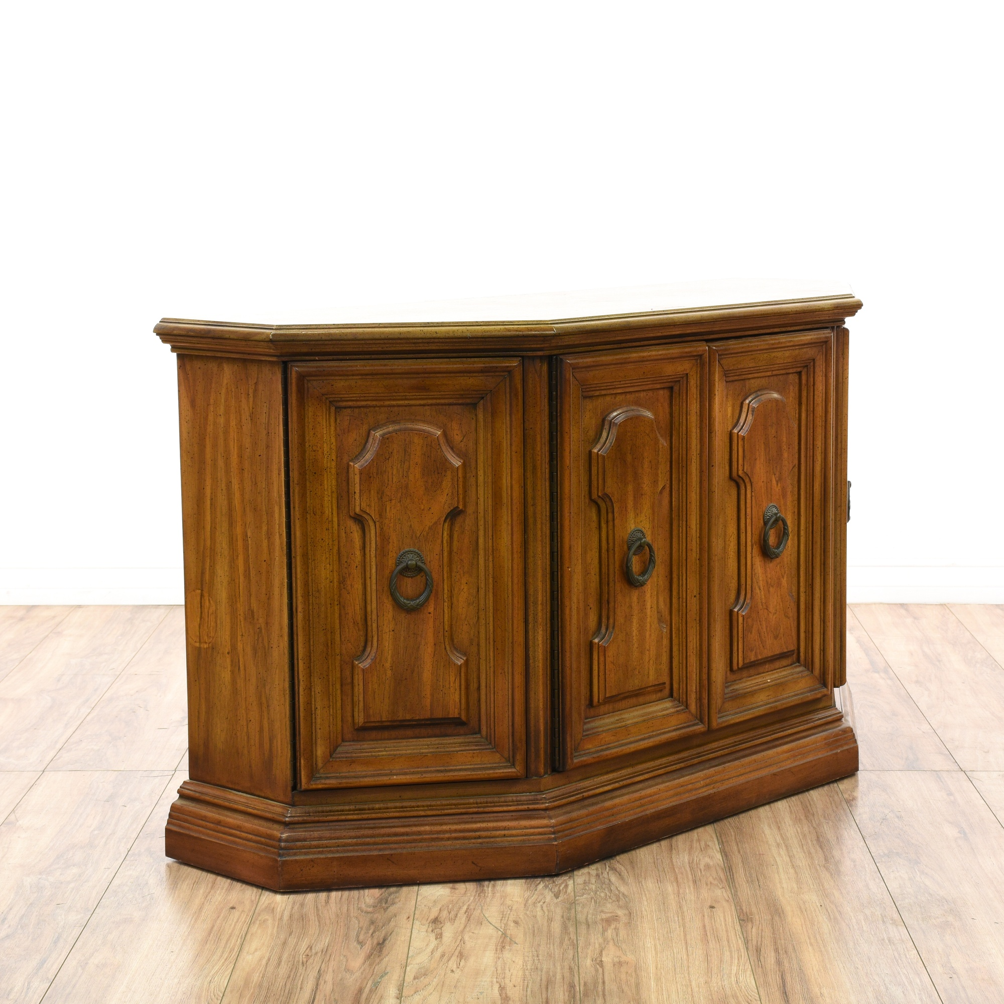 Foyer Console Cabinet : Carved wood panel entryway console cabinet loveseat