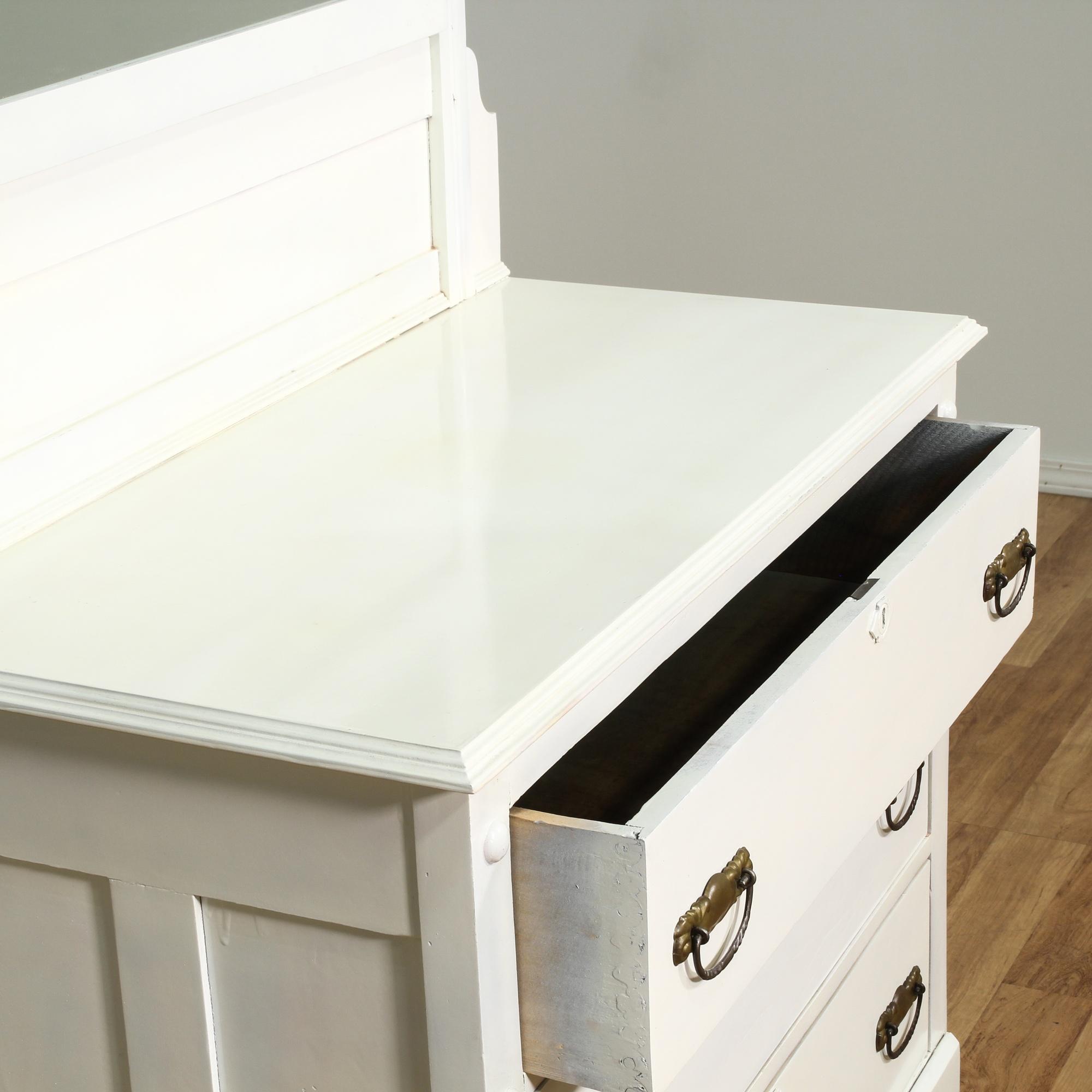 White eastlake 3 drawer dresser w mirror loveseat for Eastlake storage