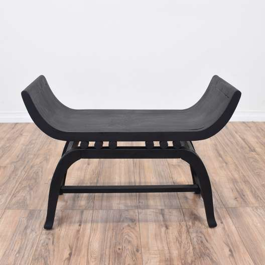 Black Shabby Chic Curved Bench