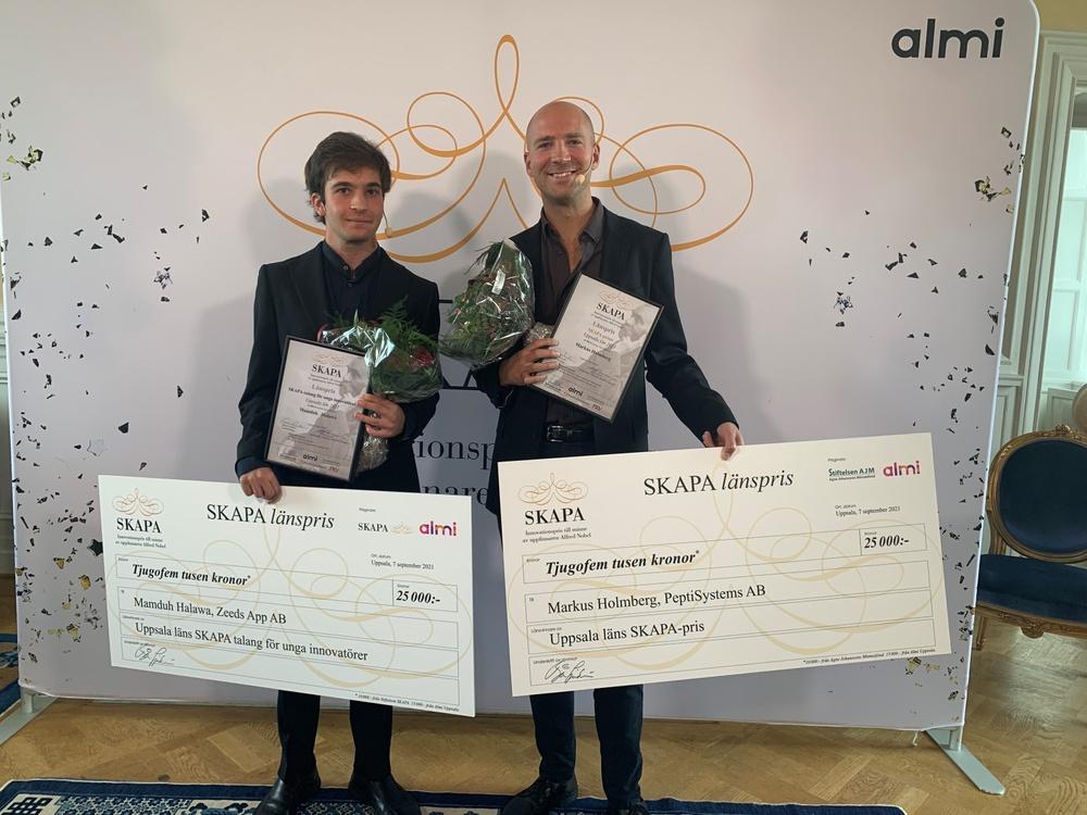 Mamduh Halawa vinnare av årets regionala 'SKAPA-talang för unga innovatörer'-pris och Markus Holmberg vinnare av årets regionala SKAPA-pris.