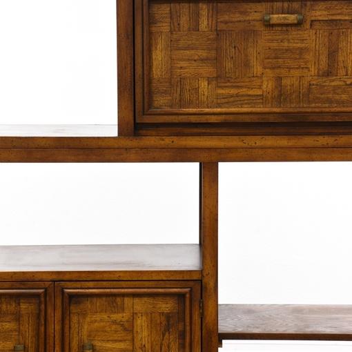 2 piece parquet front wall unit display bookcase loveseat vintage furniture - Parquet piece humide ...