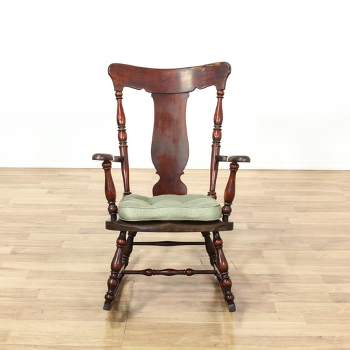 Antique early american splat back rocking chair loveseat