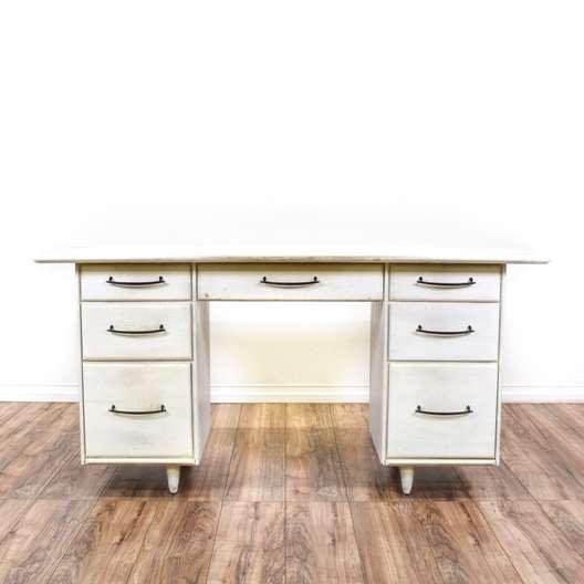 Mid Century Modern 7-Drawer White Desk