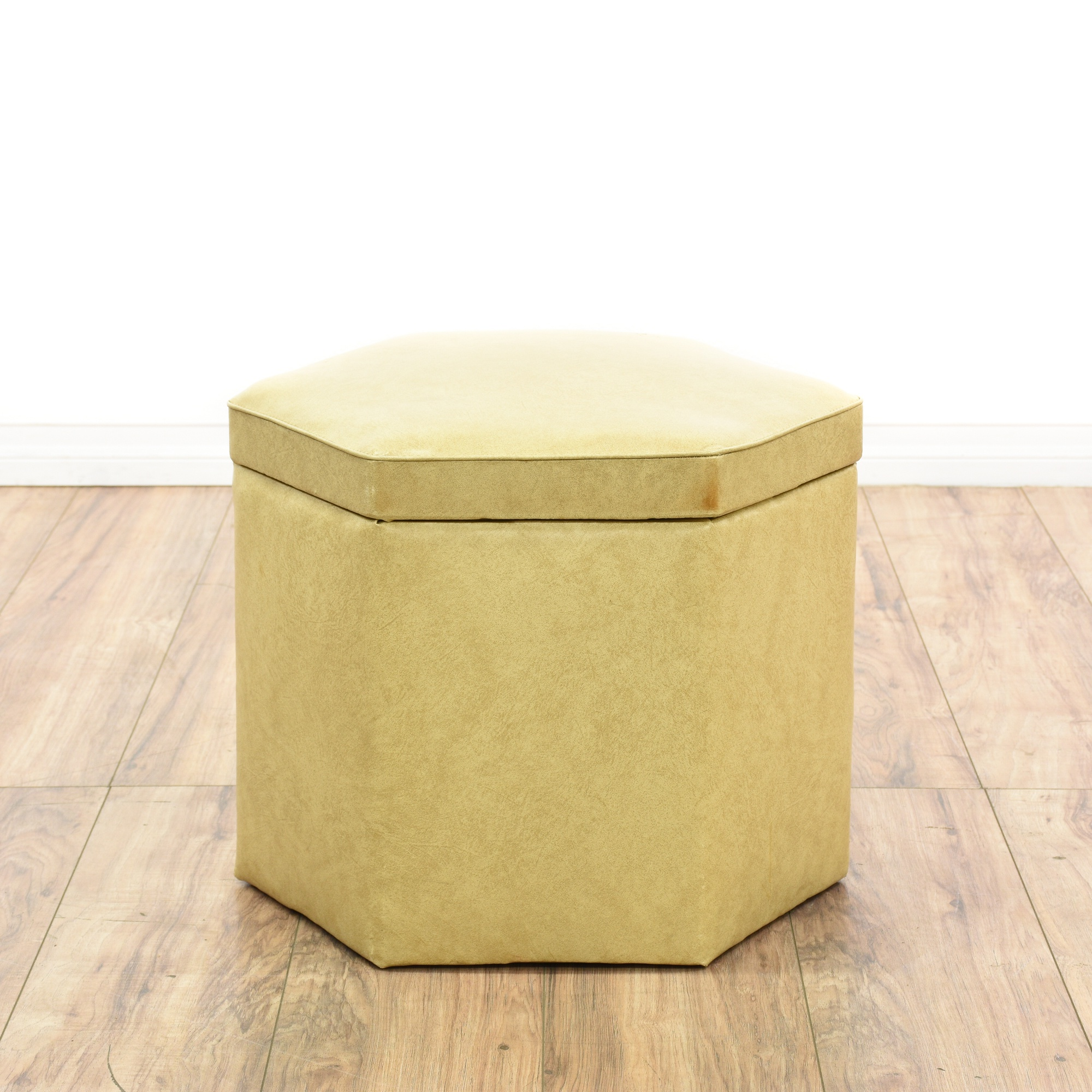 Hexagon Beige Faux Leather Vinyl Storage Ottoman | Loveseat Vintage Furniture San Diego  sc 1 st  Loveseat & Hexagon Beige Faux Leather Vinyl Storage Ottoman | Loveseat Vintage ...