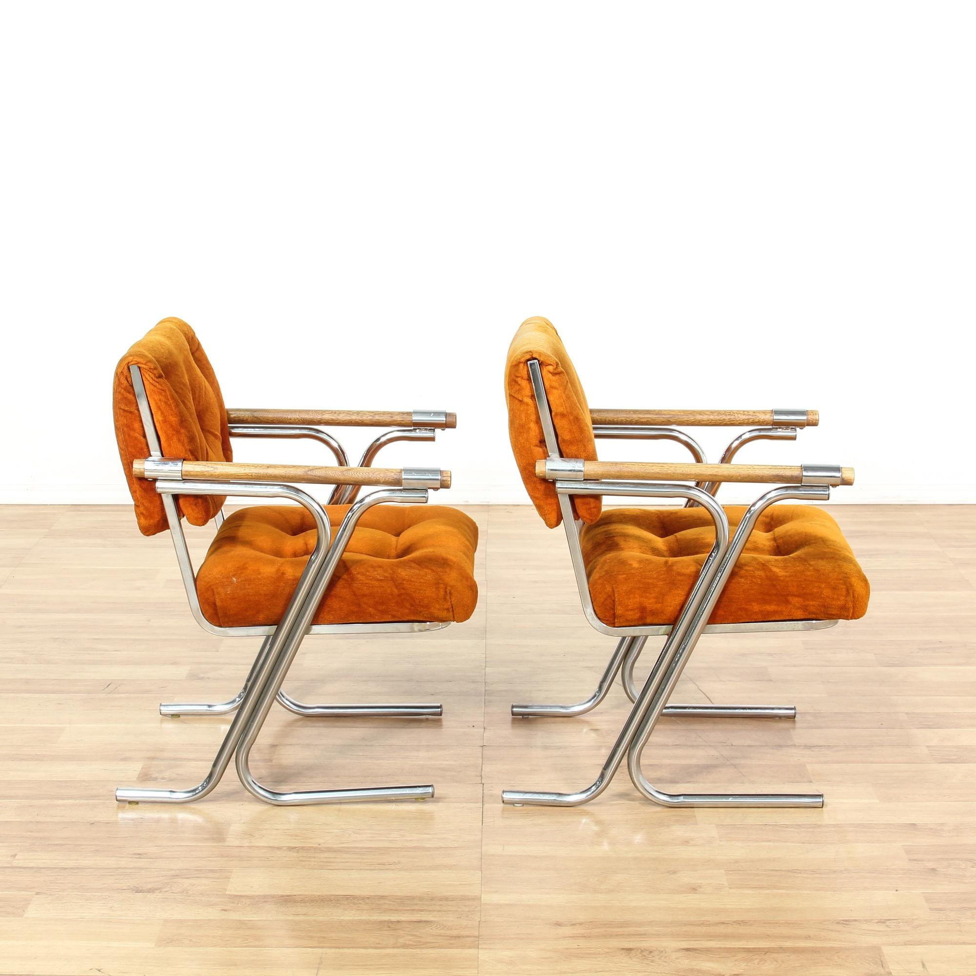 Pair of retro burnt orange chrome accent chairs for Burnt orange accent chair