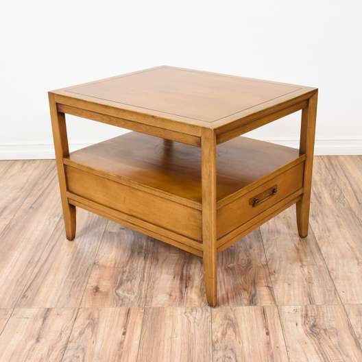 Mid Century Modern Light Wood Tiered End Table