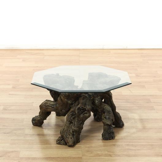 Burlwood Driftwood Glass Top Coffee Table
