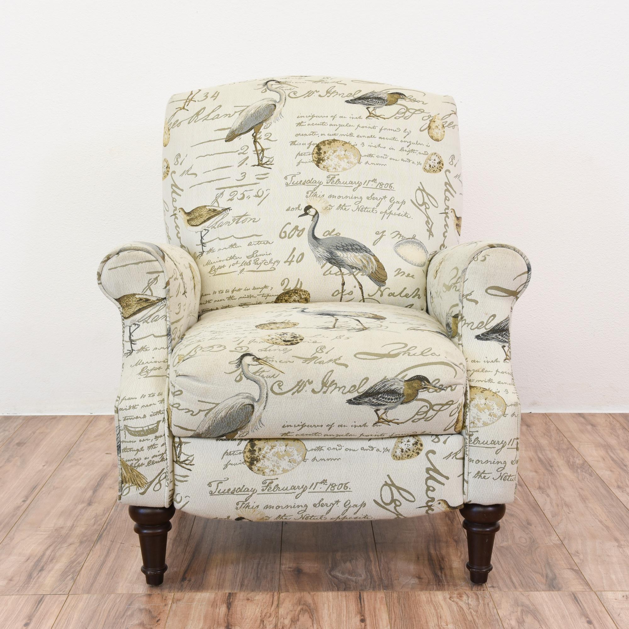Beach Chic Recliner Armchair W Bird Print Loveseat