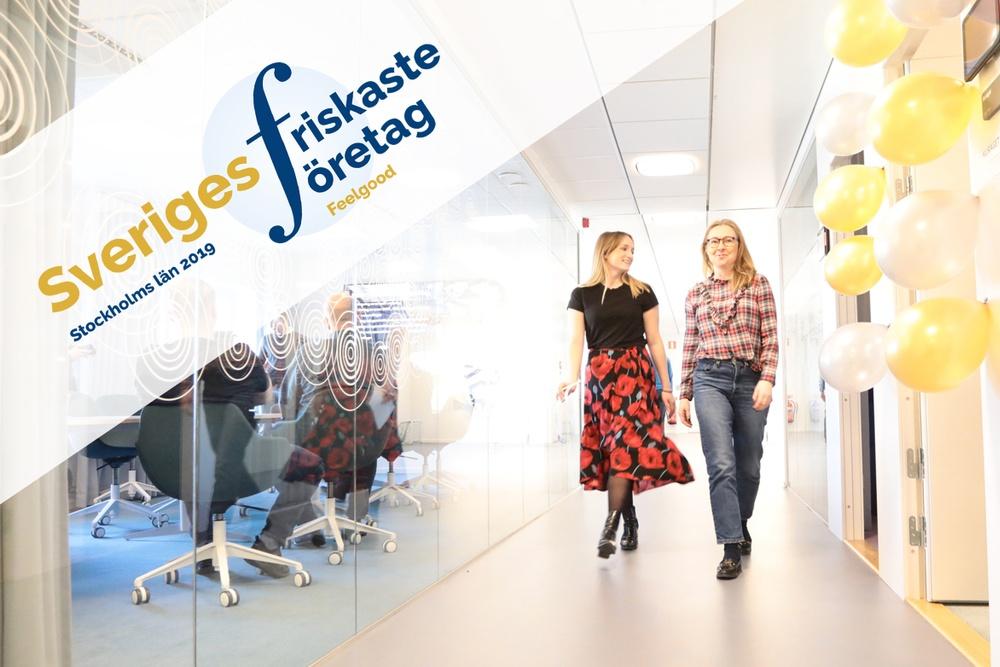 SISAB är friskast i Stockholms län enligt friskusarna på Feelgood. Mikaela och kollegan Anni uppskattar SISAB:s olika hälsofrämjande alternativ.  Foto: SISAB