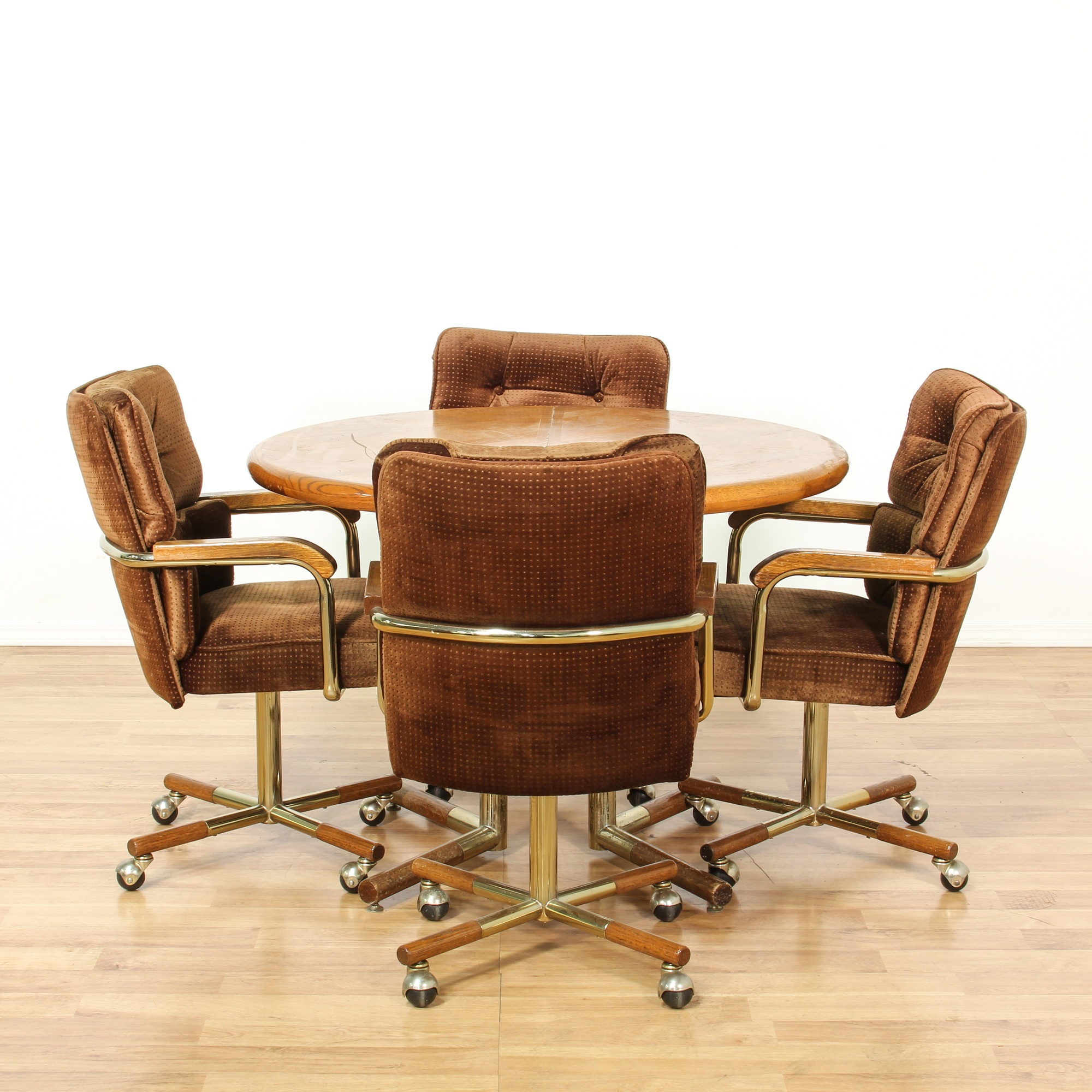rolling dinette chairs mid century modern dining set w 4 rolling chairs 1983