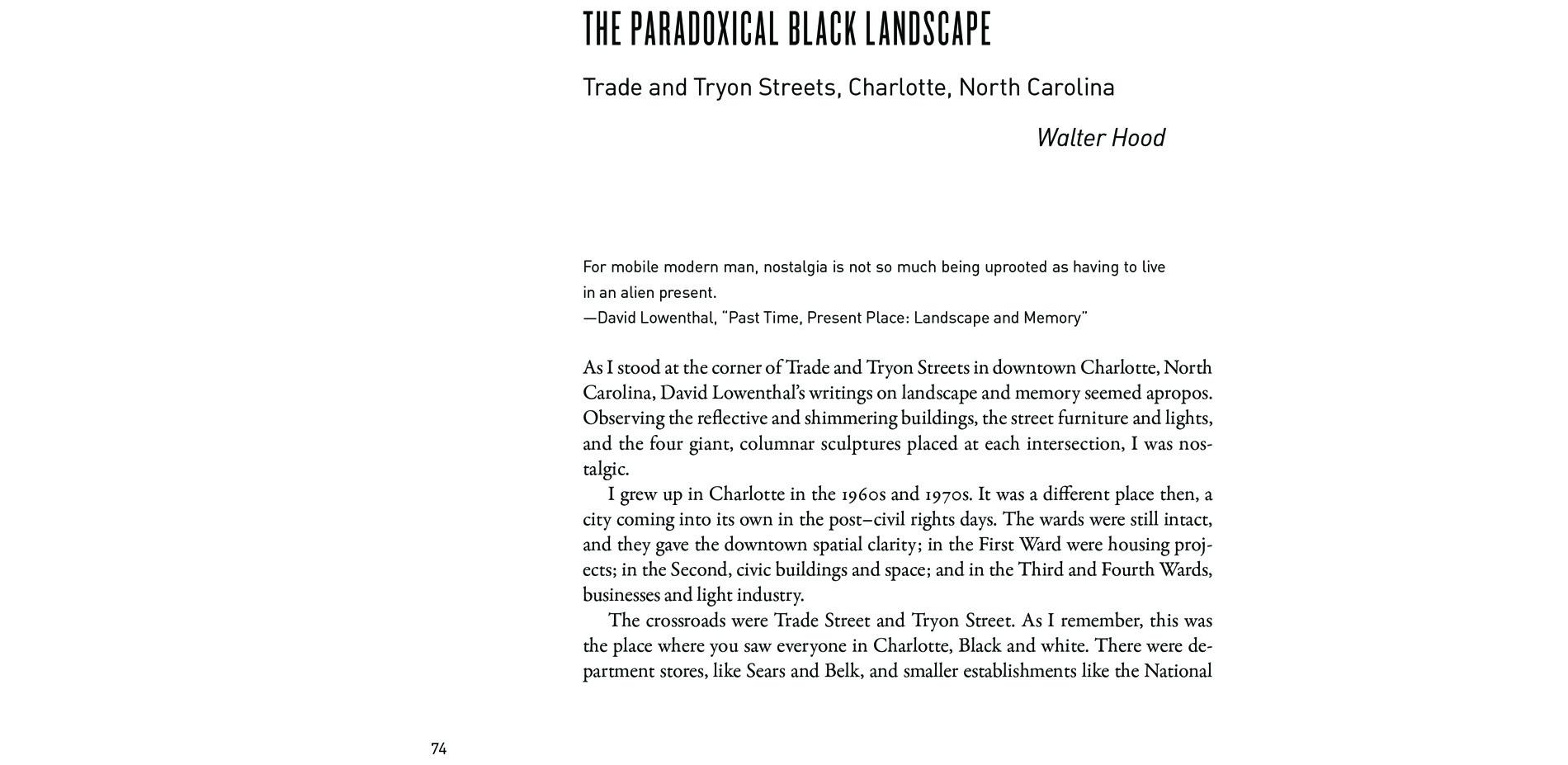 Black Landscapes Matter, The Paradoxical Black Landscape: Trade and Tryon Streets, Charlotte, North Carolina (pg. 74)