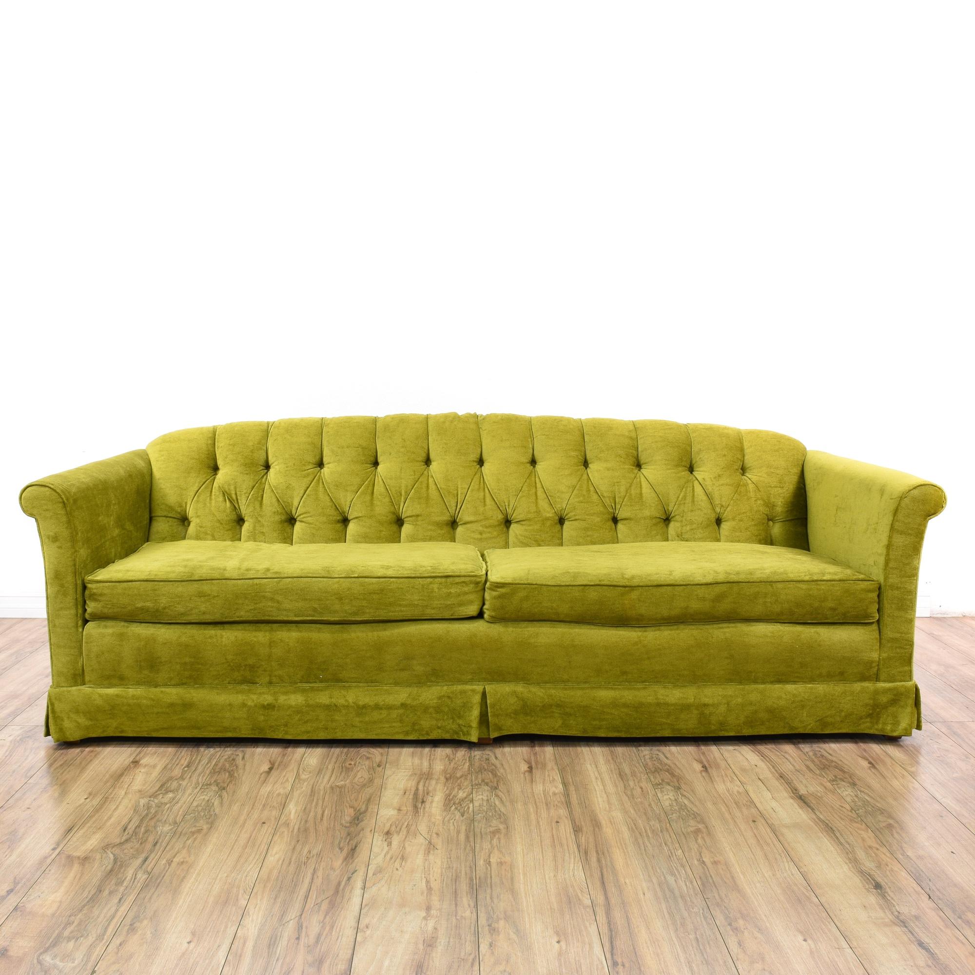 Mid Century Modern Chartreuse Green Velvet Sofa