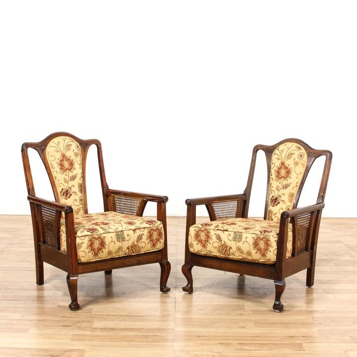 Carved Victorian Side Chair Loveseat Vintage Furniture