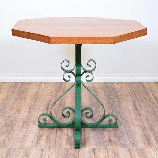 Green Iron Base Patio Table w/ Octagon Top