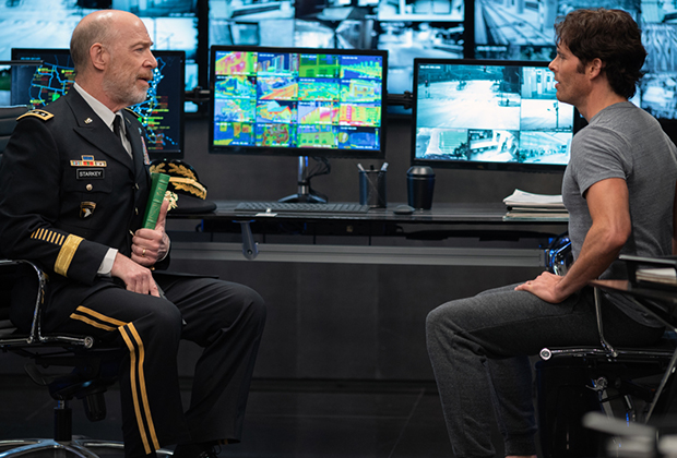 General William Starkey, left, portrayed by J.K. Simmons in The Stand episode 1