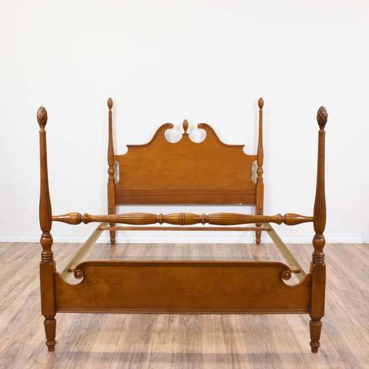 Carved Maple Four Poster Full Sized Bed