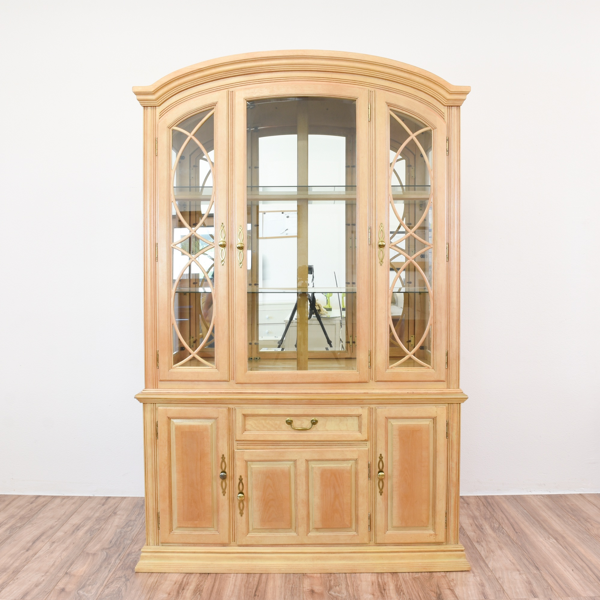 Light Blonde Wood China Cabinet Display Case