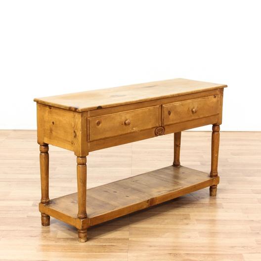 2 drawer console table w bottom shelf loveseat vintage. Black Bedroom Furniture Sets. Home Design Ideas